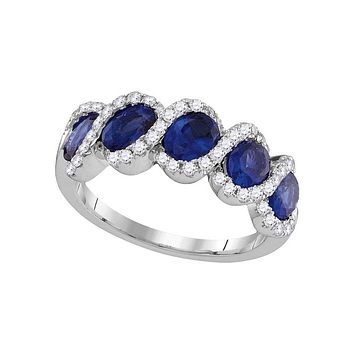 18kt White Gold Round Blue Sapphire Diamond Fashion Band Ring 2-1/2 Cttw