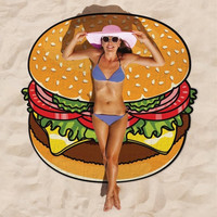 Hot Sale Bath Towels Round Beach Towel Swim Food 3D Pizza With Tassel Knitted toalla playa serviette de plage travel