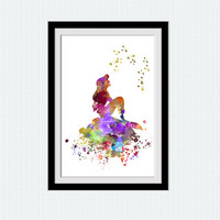 Little mermaid watercolor art print The Little mermaid colorful poster Disney decor Home decoration Kids room wall art Nursery decor W498