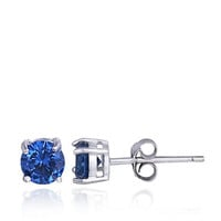 Lord & Taylor Sterling Silver and Blue Stone Stud Earrings
