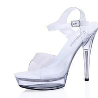 Sandals women Platform model T stage Shows Sexy High-heeled Shoes 10-20 cm High Transparent Waterproof Sandals