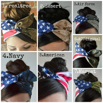 american flag headband, Wire Dolly bow, Military American Flag head band, hair bow