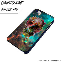 Galaxy Nebula Floral Skull Flower Case For Iphone 4/4S Case