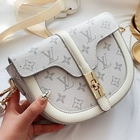 LV New fashion monogram leather shoulder bag crossbody bag White