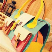 Candy Color Mix and Match 3 Pockets Tote Bag DSG621 from topsales
