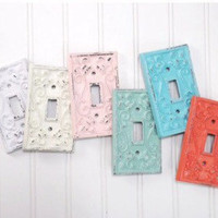 Double Metal Light Switch Cover, Shabby Chic Home Decor,Ornate Design Switch Cover
