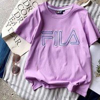 Fila New Fashion Bust Word Print Women Men Cotton Tee Shirt Top Light Purple