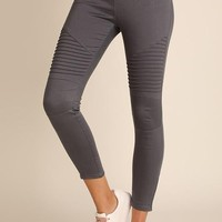 Moto Jeggings in Charcoal