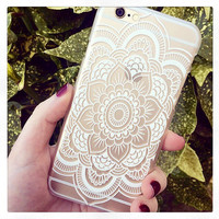 White Henna Swirl Floral Print See Through Clear iPhone 6 Hipster Phone Case