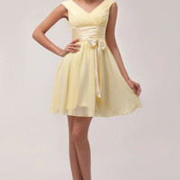 Yellow V-Neck Ruched Bow Knot Chiffon Homecoming Dress