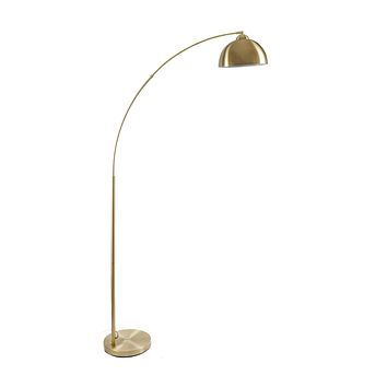 """Archiology Arc Floor Lamp, 79"""" Height Gold Brass Floor Lamp Curved, and Metal Dome Shade with Glossy White Interior Perfect for Living Room Reading Bedroom Home Office"""