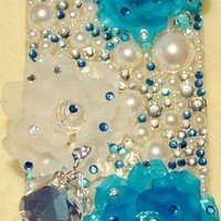 iPhashon Diamond Ballerina with Blue Flowers BALLET DANCER Crystal Case Cover for iPhone 5 5G 5th