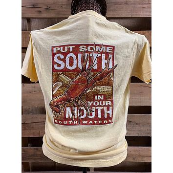 South Waters Put Some South in Your Mouth Crawfish Comfort Colors Bright Unisex T Shirt