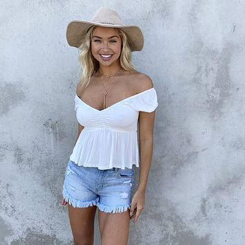 Saving Grace Jersey Top In White
