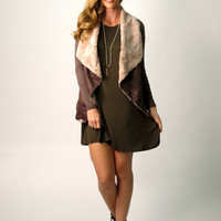 Tory Draped Suede Jacket: Brown
