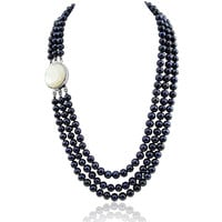 """3-row 6.5-7.5mm Black Freshwater Cultured Pearl Necklace Mother-of-Pearl base metal Clasp 17.5"""",18.5""""/20"""""""