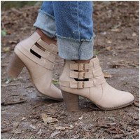 Cage Buckle Ankle Booties - CREAM