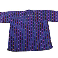 Vintage 90s Purple 2 Button Striped Shirt Mens Size Large