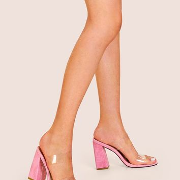 Clear Strap Croc Embossed Chunky Heels