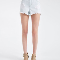 Frayed & Distressed High-Rise Jean Shorts | Wet Seal