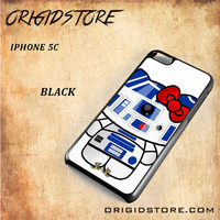 R2D2 Star Wars Hello Kitty Black White Snap On 3D For Iphone 5C Case
