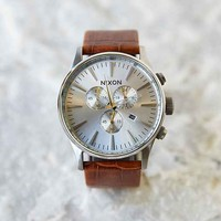 Nixon Sentry Chrono Leather Watch- Brown One