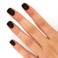 sterling silver knuckle ring simple Wavy design above knuckle ring adjustable midi ring also toe ring (T-46)