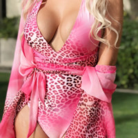 One-piece swimsuit with pink leopard print sexy backless one-piece bikini