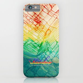 Rainbow typograph with Cracked out Glass iPhone, ipod, ipad, pillow case and tshirt iPhone & iPod Case by Three Second
