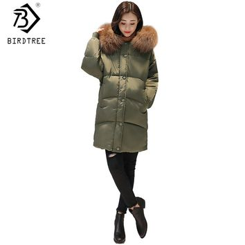 New 2017 Oversized Winter Cotton Down Women Long Zipper Coat Parka Thick Female Warm Cocoon Fur Collar Lady Cloak Hoody C79509A