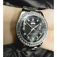 Rolex Fashion New Diamond Watch Stainless Steel Women Men Wristwatch Silver