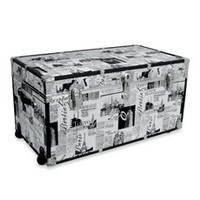 Storage Trunk with Wheels - Passport Print