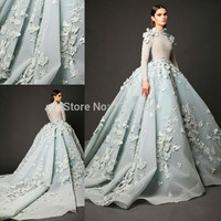 2016 High Neck Long Sleeve Arabic Evening Gowns Sage Lace Appliques Ball Gown Prom Dresses Custom Court Train Formal Party Dress