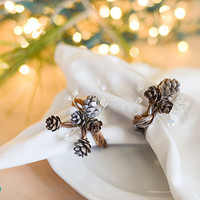 Real Pine Cone and Crystal Christmas Winter Napkin Ring, Set of 6