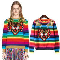 GUCCI Hot Sale Rainbow Color Pullover Tiger Embroider Loose Long Sleeve Sweater