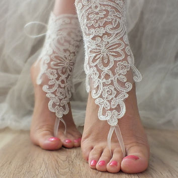 ivory Barefoot , ivory crystalline  french lace sandals, wedding anklet, Beach wedding barefoot sandals,