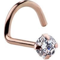 FreshTrends Luxe Cubic Zirconia 14K Rose Gold Nose Ring Twist Screw