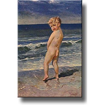 Boy Urinating Into the Sea Painting Bathroom Picture on Stretched Canvas, Wall Art Decor Ready to Hang!.