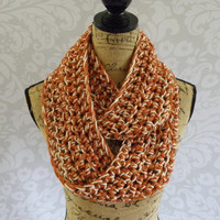Ready To Ship Infinity Scarf Crochet Burnt Pumpkin Orange and Ivory Gold Sparkle Women's Accessories Eternity Fall Winter