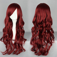Cosplay Anime Wigs 70cm red wine Fashion Girls and Boys Anime Party Gothic Lolita Wig,Colorful Candy Colored synthetic Hair Extension Hair piece 1pcs WIG-404A