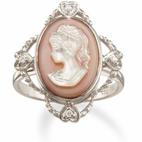 18k White Gold Mother of Pearl Cameo Ring with Diamonds only $749.00 - Cameo Jewelry