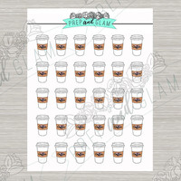 Coffee stickers planner stickers white with brown cozy, erin condren planner stickers coffee drink