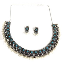 Oxidized silver half jhumka design choker Necklace and Earring set