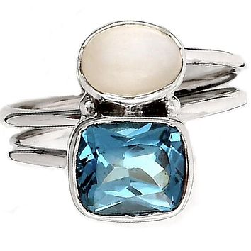 London Blue Topaz & Moonstone Sterling Silver Two Stone Ring