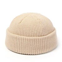 Knitted Hats for  Skullcap Men Beanie Hat Winter Retro Brimless Baggy Melon Cap Cuff  Fisherman Beanies Hats For Men