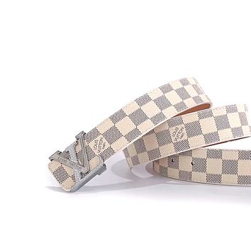 LV tide brand men and women models simple classic checkerboard old flower smooth buckle belt white check