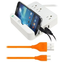 EZOPower Desktop Charging Station with 3 Outlets, 3 USB Output and Built-in Slot Holder + USB Cable for Lenovo Yoga Tablet 10 HD+/ 8/ 10 and more (Cable 6Ft Orange)