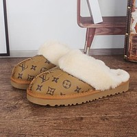 UGG x LV Louis vuitton Monogram Slippers Shoes Boots Brown