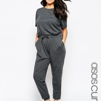 ASOS CURVE Washed Casual Jumpsuit With Drawstring at asos.com