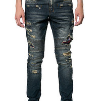 The Ripped Flannel Biker Denim in Blue